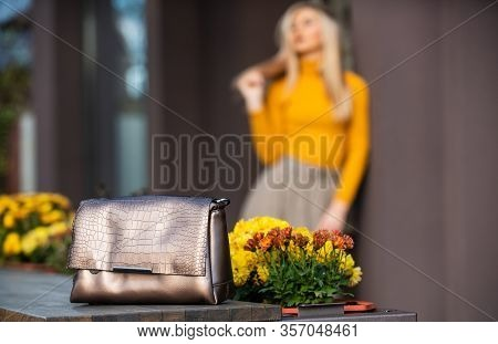Fashion Purse. Pretty Woman Defocused And Her Beautiful Purse Close Up. Womanhood Concept. Really Us