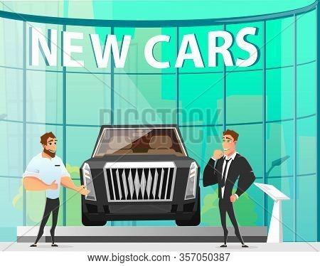 New Cars Presentation In Modern Showroom. Cartoon Friendly Smiling Car Sales Manager Or Dealer Descr