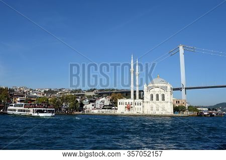 Istanbul,turkey - November 3, 2019:view Of The Ortakoy Mosque And The Bosphorus Bridge In Istanbul