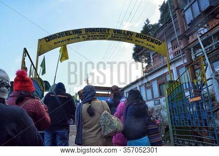 Darjeeling, India- December 27, 2019: Gathering Of People For The Darjeeling Ropeway Is A Ropeway In