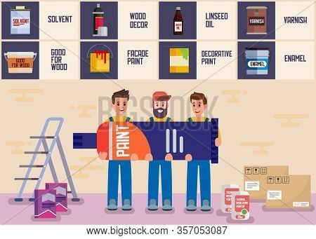 Surface Painting Service Online Store Flat Banner Vector Illustration Man Workers Holding Big Paint