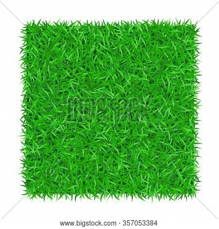 Green Grass Square Isolated On White Background 3d. Lawn Greenery Nature Frame. Soccer Field Texture