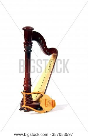Harp And Lyre Isolated On White Background. Image Contains Copy Space
