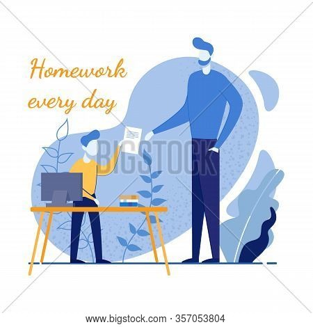 Parenting And Parent Help For Children In Homework Motivation Poster. Cartoon Father Checking Child