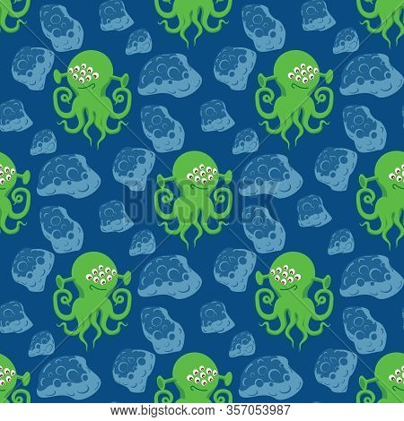 Green Alien With Many Eyes And Tentacles, Blue Meteorites In Outer Space. Seamless Vector Pattern On