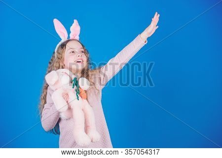 Happy Childhood. Get In Easter Spirit. Bunny Ears Accessory. Lovely Playful Bunny Child With Long Ha