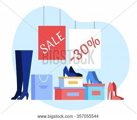 Women Shoes Wholesale Flat Banner Vector Template. Fashionable Female Garments Sale Advertising Post