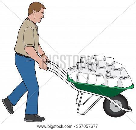 A Happy Man Is Wheeling A Load Of Toilet Paper In A Wheelbarrow
