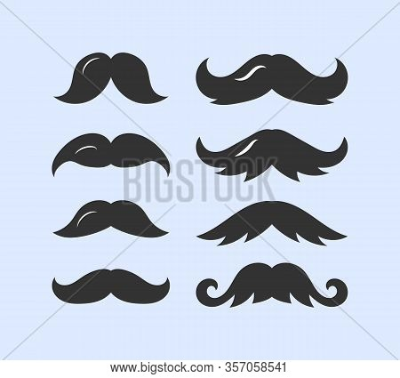 Set Of Male Mustache In Flat Design. Black Silhouettes Of Mustache Vector Collection On White Backgr