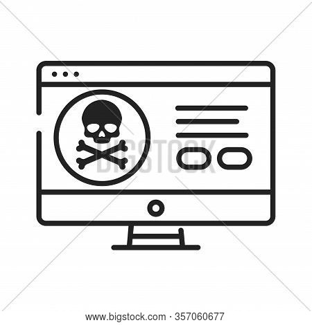 Computer Hacking Black Line Icon. Attempt To Exploit A Computer System Or A Private Network Inside A