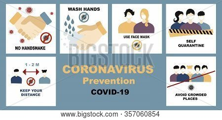 Coronavirus, Covid-19 Vector Set, Bundle. No Handshake And Wash Hands, Self Quarantine And Avoid Cro