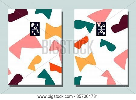 Trendy Cover With Graphic Elements - Abstract Shapes. Two Modern Vector Flyers In Avant-garde  Style