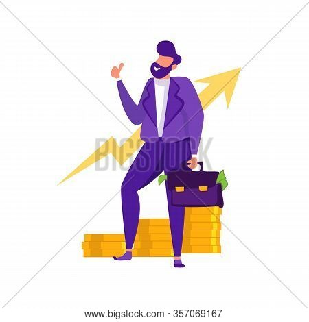 Businessman In Suit Holding Suitcase Full Of Cash Money Gesturing Thumbs Up Business Financial Growt