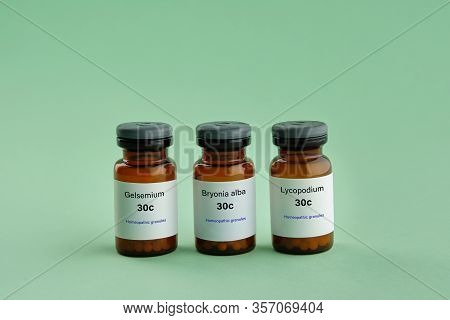 Bottles Of Homeopathic Drugs - Gelsemium, Bryonia Alba, Lycopodium - Remedies Recommended By Homeopa