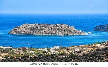 Island Spinalonga (kalydon) In The Western Gulf Of Mirabello Off The Island Crete In Greece