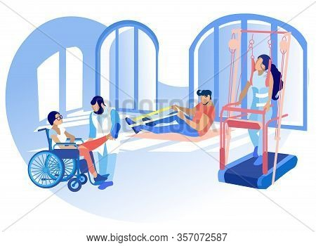 Rehabilitation Disabled Physiotherapy Vector. Correction Or Replacement Lost Physical Abilities Body