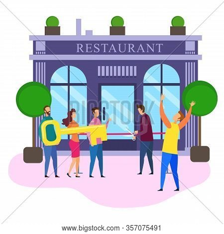 Luxury Restaurant Opening Ceremony Cartoon People With Key Male Owner Cut Red Ribbon Vector Illustra
