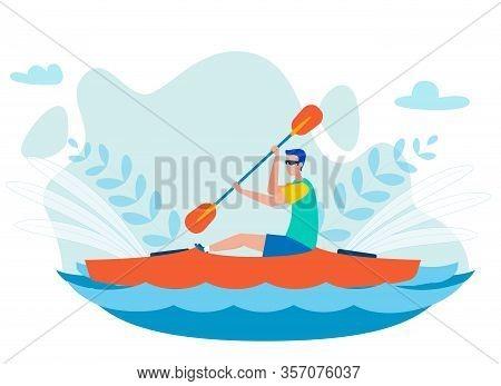 Whitewater Kayaking Sport Flat Vector Illustration. Man Sitting In Kayak Alone And Paddling. Canoein