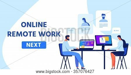 Webpage Template Presenting Online Remote Work. Woman And Man Medical Professional, Doctors Or Scien
