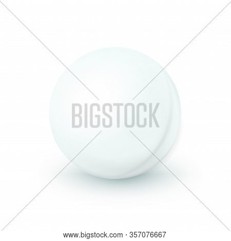 Ping Pong Ball Isolated On White Background. Table Tennis, Realistic 3d Object With Shadow. Vector I