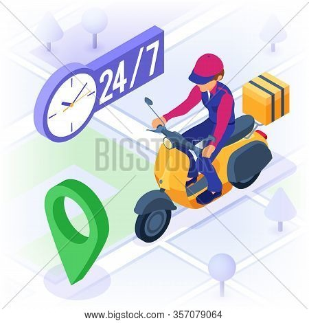 Fast And Free Online Food Order And Package Delivery Service. Fast Food Shipping. Isometric Courier