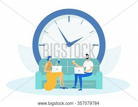 Man And Woman Sitting On Couch Or Sofa And Working On Laptop Flat Cartoon Vector Illustration. Colle