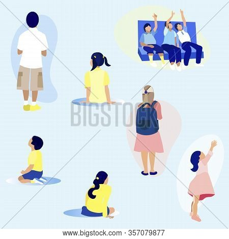 Back View Little Male And Female Kids Looking Ahead Flat Cartoon Vector Illustration. Children Sitti