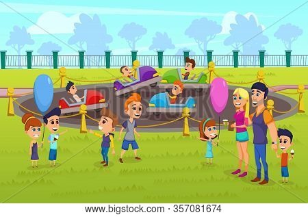 Informative Flyer Amusement Park Cartoon Flat. Poster Large Amusement Park Attendance. Man Woman Bro