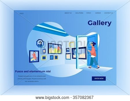 Woman In Art Gallery In Virtual Reality Glasses. Exhibition Center. Vector Illustration. Walk Throug
