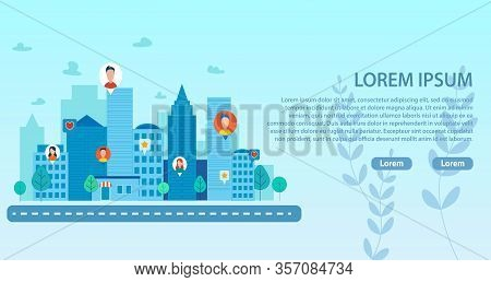 Landing Page With Smart City And People Community. Social Media Network Connecting Man And Woman Fro