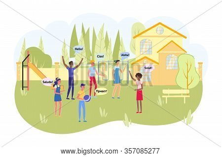 Children Summer Camp With Learning Foreign Languages. Playground With Multinational Boys And Girls C