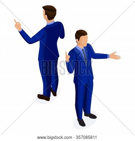 Isometric Businessman In Business Suit. Business People Front View Rear View Isolated On White Backg