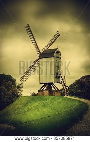 Old Mill In Bruges, Detail Of Windmill, World Heritage Site