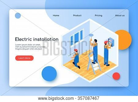 Flat Vector Electric Installation Landing Page. Male Electricians Repair And Update Electrical Wirin