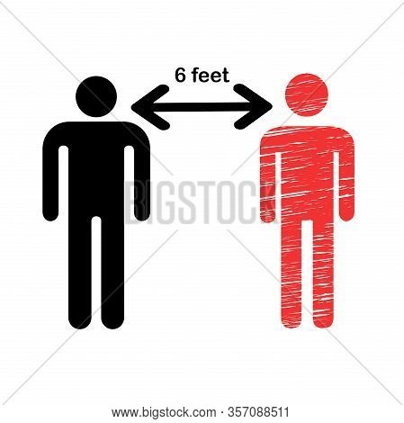 Social Distancing Icon Vector Illustration.. Maintain 6 Feet Distance From People Concept