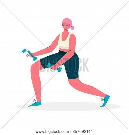 Woman In Sportswear Doing Lunges With Dumbbells For Beautiful Thighs And Buttocks In Gym. Woman Acti