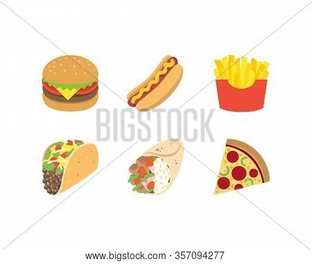 Fast Food Icons Set. Burger Hot Dog Potato Fries Taco Burrito And Pizza Icons In Flat. Vector Eps 10