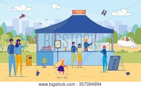 Cartoon Man And Woman Buy Fastfood From Vendor In Street Food Stand. Tent With Menu In Park. Adult A