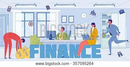 Finance System Specialists Word Concept Banner. Investment Experts Earning Money Cartoon Characters.