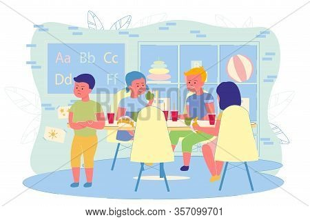 Boys And Girls Eat Sweets At Childrens Table. Children Have Fun Talking While Eating, On Table Cups