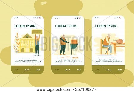 Smarthone App About Use Pension Saving In Fund. Man Holding Bill Money Over Him, Against Structure I