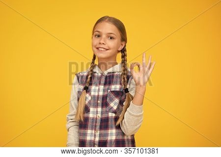 Just Excellent. Happy International Childrens Day. Little Girl Yellow Background. Good Mood Concept.