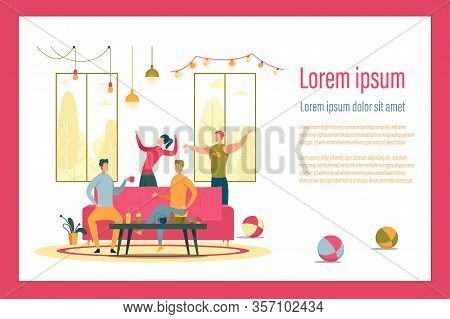 Apartment Party Flat Vector Landing Page Template. Discotheque Web Banner Layout. Friends Pastime At