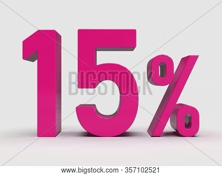 3d Render: Pink 15% Percent Discount 3d Sign on White Background, Special Offer 15% Discount Tag, Sale Up to 15 Percent Off, Fifteen Percent Letters Sale Symbol, Special Offer Label, Sticker, Tag