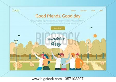 Friendship Day Flat Vector Landing Page Template. Diverse Friends Together, Outdoor Recreation Web B