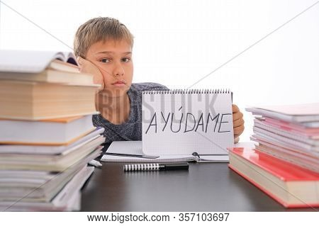 Tired Frustrated Boy Sitting At The Table With Many Books, Exercises Books. Spanish Word Auydame - H