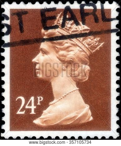 Saint Petersburg, Russia - March 21, 2020: Postage Stamp Issued In The United Kingdom With The Image