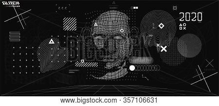 Holographic Ai In Humanoid Head. Conceptual Image Artificial Intelligence, Virtual Reality, Tech Sha