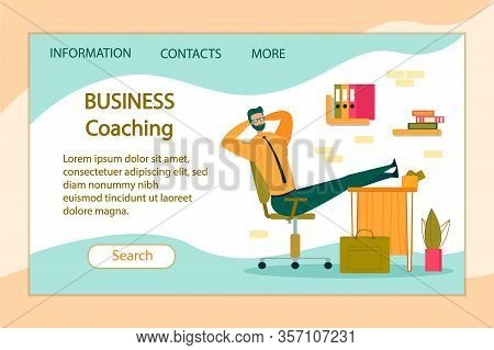 Business Coaching Horizontal Banner. Lazy Office Worker With Hands Behind Of Head Sit In Office With