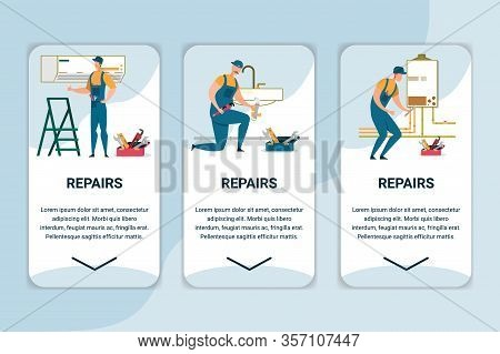 Technique Repairs Mobile App Page Onboard Screen Set For Website, Plumbers And Electricians Fix And